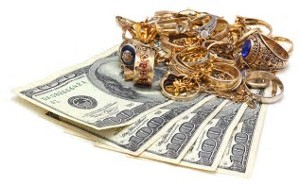 Dollar Bills and Gold Jewelry